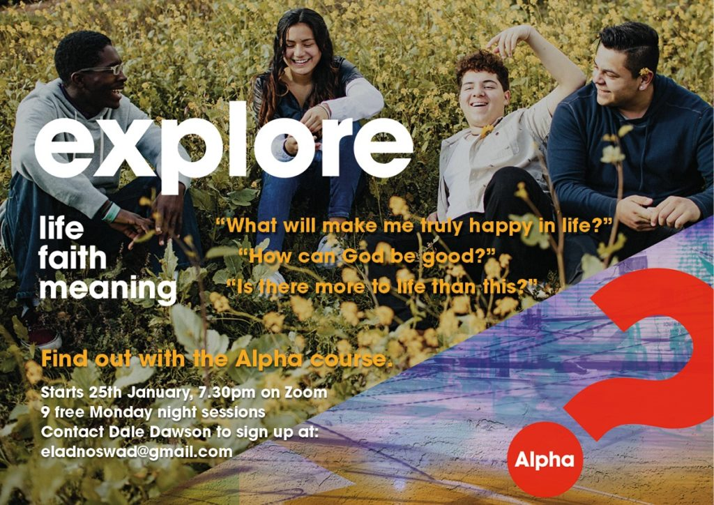 People sitting on grass chatting, with description of the Alpha course (read more below).