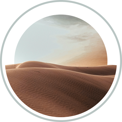 Desert and sky in circle